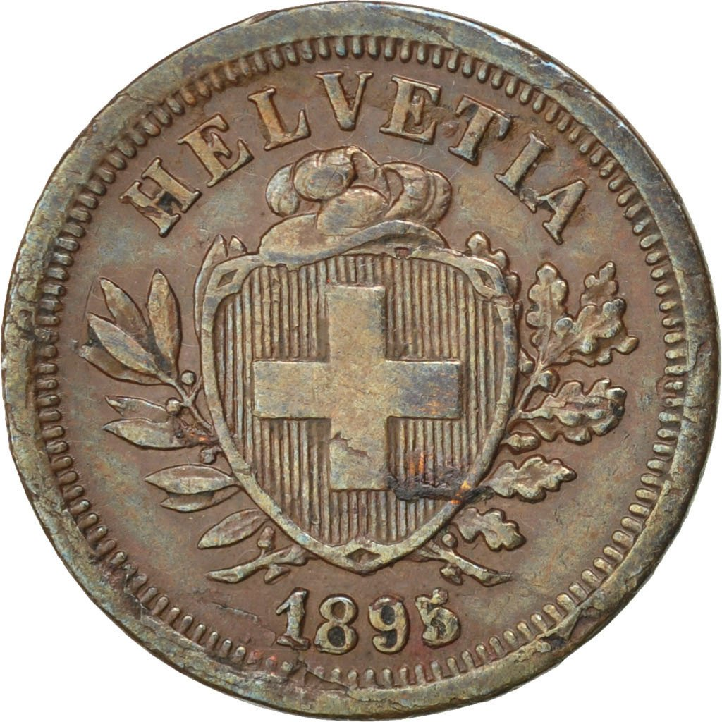 One Centime (Rappen) 1895: Photo Coin, Switzerland, Rappen 1895
