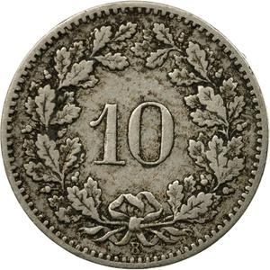 Switzerland / Ten Centimes (Rappen) 1897 - reverse photo