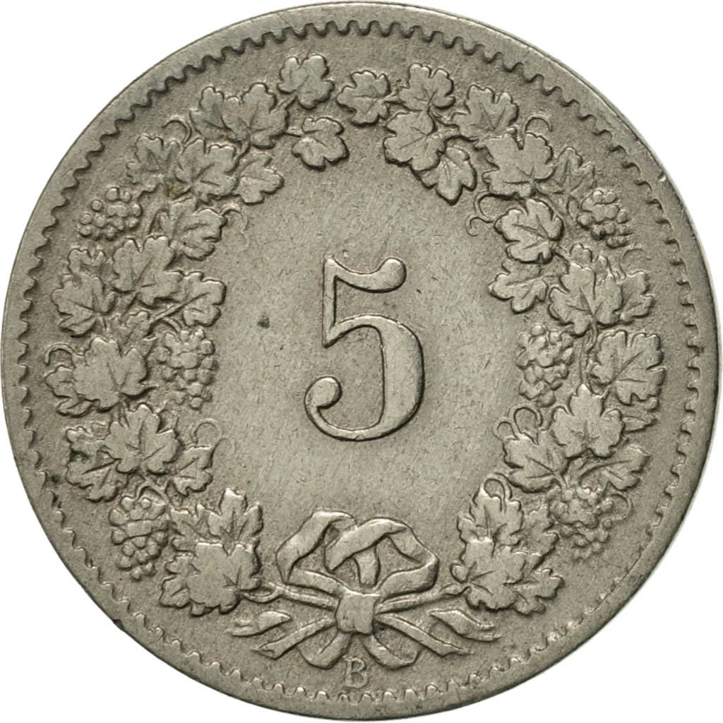 Five Centimes (Rappen) 1880: Photo Coin, Switzerland, 5 Rappen 1880