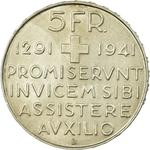 Switzerland / Five Francs 1941 Anniversary of Confederation - reverse photo