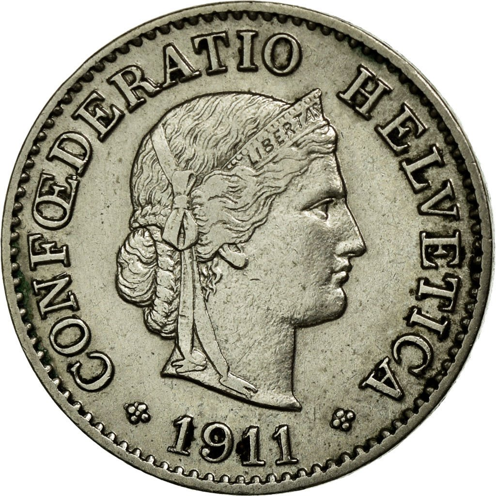 Five Centimes (Rappen) 1911: Photo Coin, Switzerland, 5 Rappen 1911