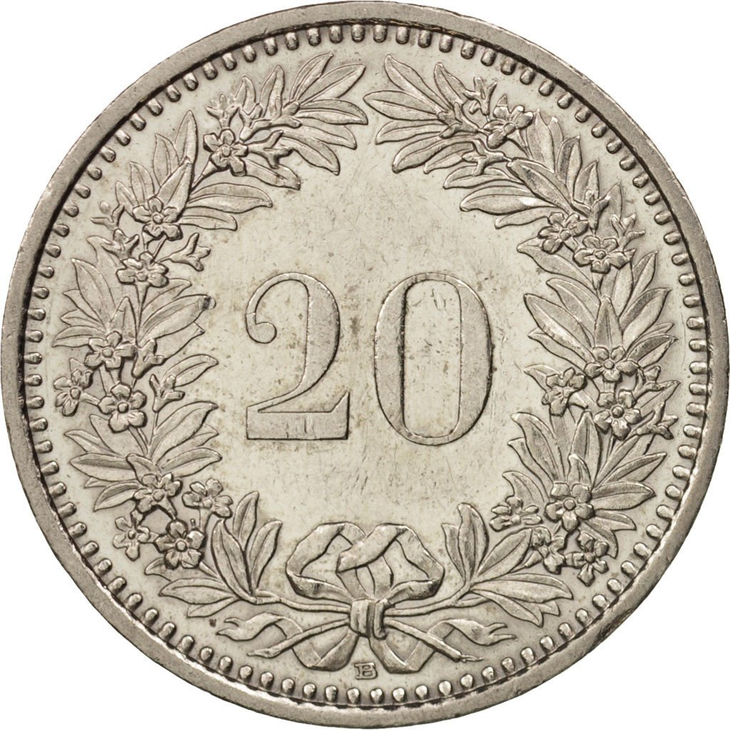 Twenty Centimes (Rappen) 1993: Photo Coin, Switzerland, 20 Rappen 1993