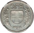 Switzerland / Five Francs 1924 - reverse photo