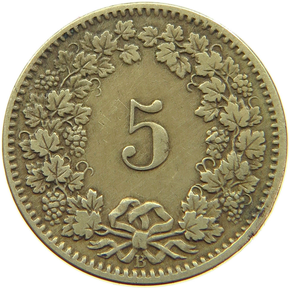 Five Centimes (Rappen) 1874: Photo Switzerland 5 Rappen 1874