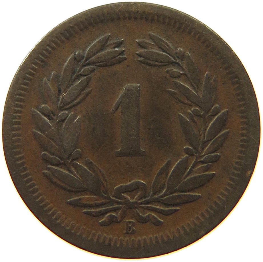 One Centime (Rappen) 1856: Photo Switzerland 1 Rappen 1856