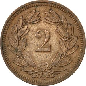 Switzerland / Two Centimes (Rappen) 1897 - reverse photo