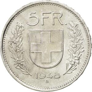 Switzerland / Five Francs 1948 - reverse photo