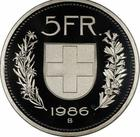 Switzerland / Five Francs 1986 - reverse photo