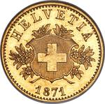 Switzerland / Twenty Francs 1871 Pattern by Voigt - obverse photo