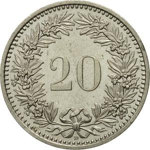 Switzerland / Twenty Centimes (Rappen) 1991 - reverse photo