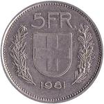 Switzerland / Five Francs 1981 - reverse photo