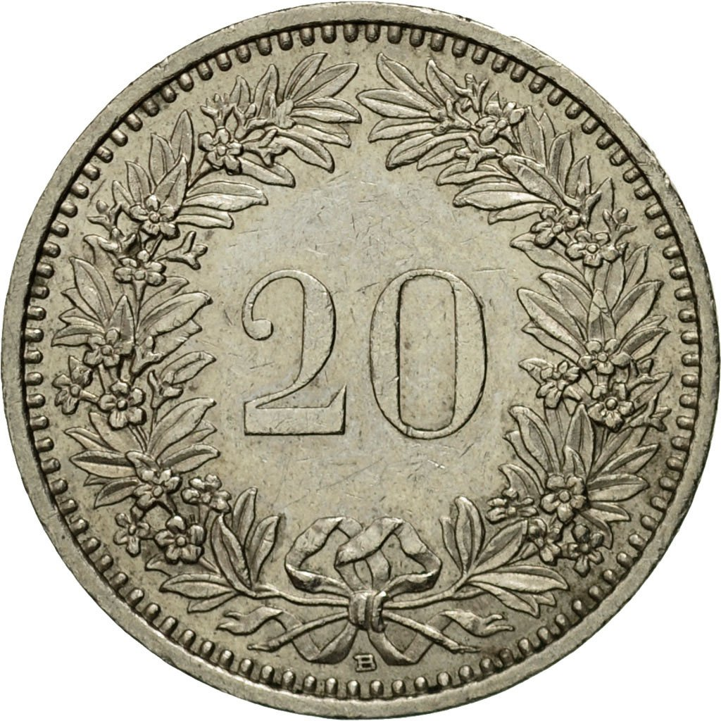 Twenty Centimes (Rappen) 1988: Photo Coin, Switzerland, 20 Rappen 1911