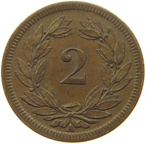 Switzerland / Two Centimes (Rappen) 1851 - reverse photo