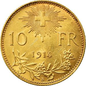 Switzerland / Ten Francs 1914 - reverse photo