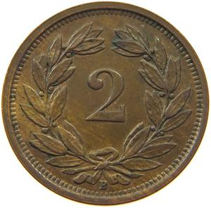 Switzerland / Two Centimes (Rappen) 1933 - reverse photo