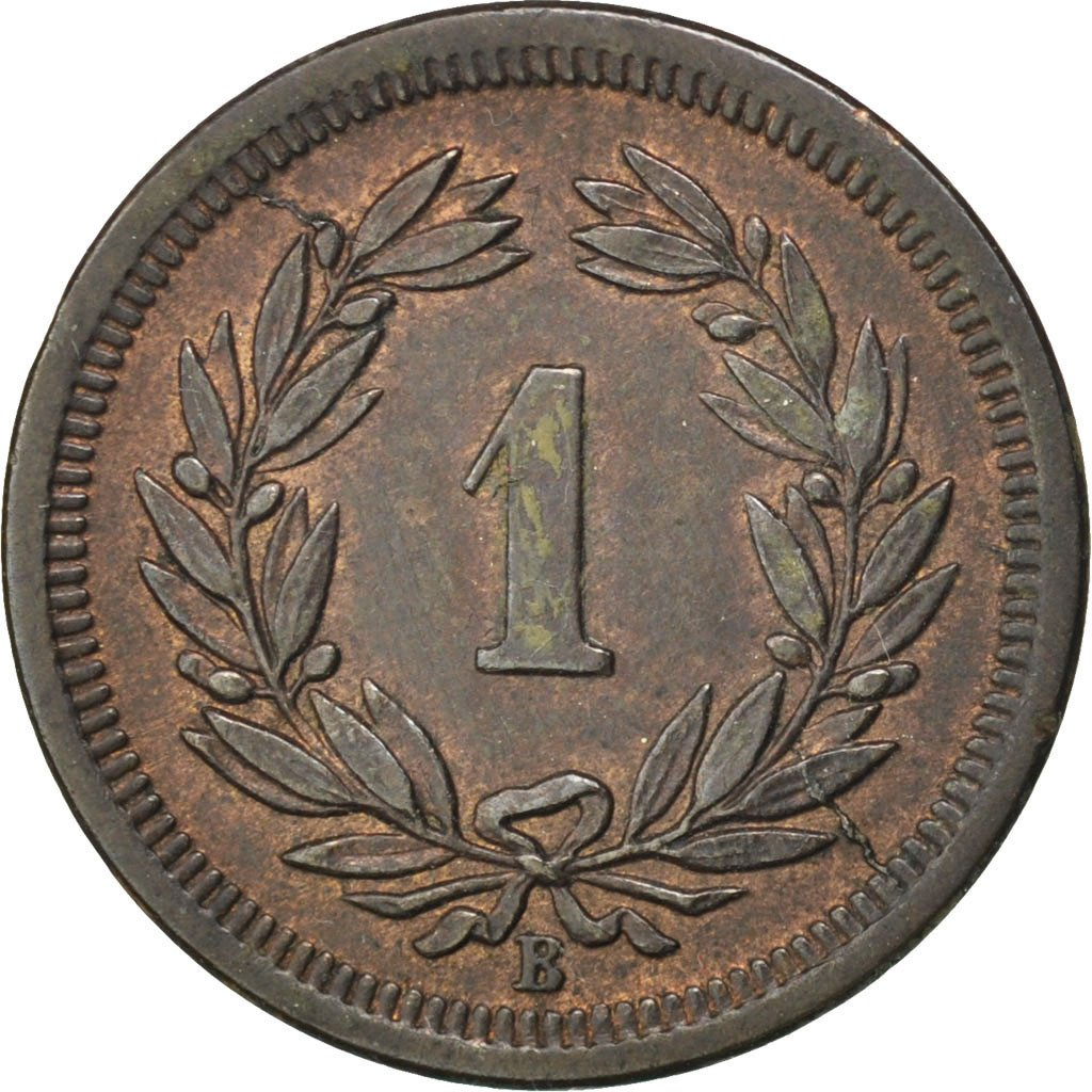 One Centime (Rappen) 1876: Photo Coin, Switzerland, Rappen 1876