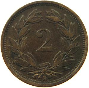 Switzerland / Two Centimes (Rappen) 1879 - reverse photo
