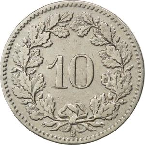 Switzerland / Ten Centimes (Rappen) 1904 - reverse photo