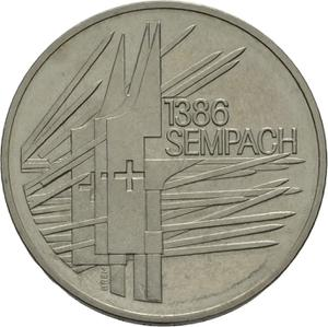 Switzerland / Five Francs 1986 Battle of Sempach - obverse photo