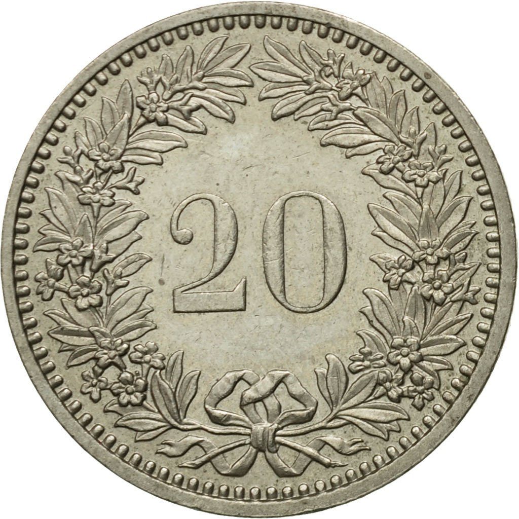 Twenty Centimes (Rappen) 1985: Photo Coin, Switzerland, 20 Rappen 1985