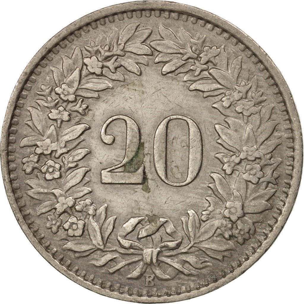 Twenty Centimes (Rappen) 1945: Photo Coin, Switzerland, 20 Rappen 1945