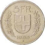 Switzerland / Five Francs 1988 - reverse photo