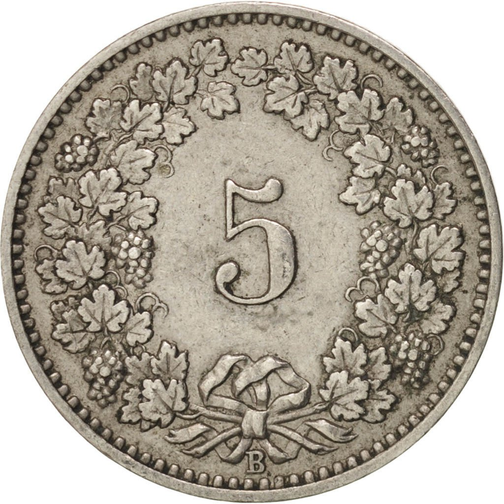 Five Centimes (Rappen) 1902: Photo Coin, Switzerland, 5 Rappen 1902