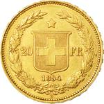 Switzerland / Twenty Francs 1894 - reverse photo