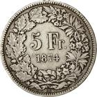 Switzerland / Five Francs 1874 - reverse photo