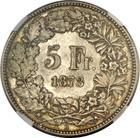 Switzerland / Five Francs 1873 - reverse photo