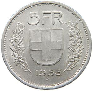 Switzerland / Five Francs 1953 - reverse photo