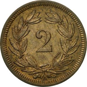 Switzerland / Two Centimes (Rappen) 1850 - reverse photo