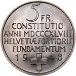 Switzerland / Five Francs 1948 Constitution - reverse photo