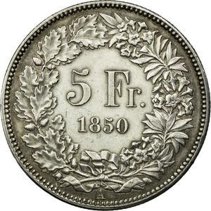 Switzerland / Five Francs 1850 - reverse photo