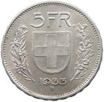 Switzerland / Five Francs 1933 - reverse photo