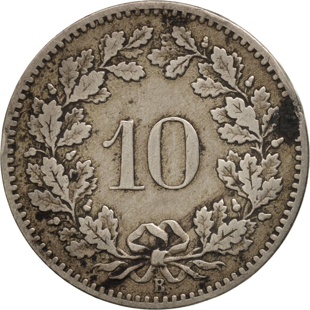 Ten Centimes (Rappen) 1885: Photo Coin, Switzerland, 10 Rappen 1885