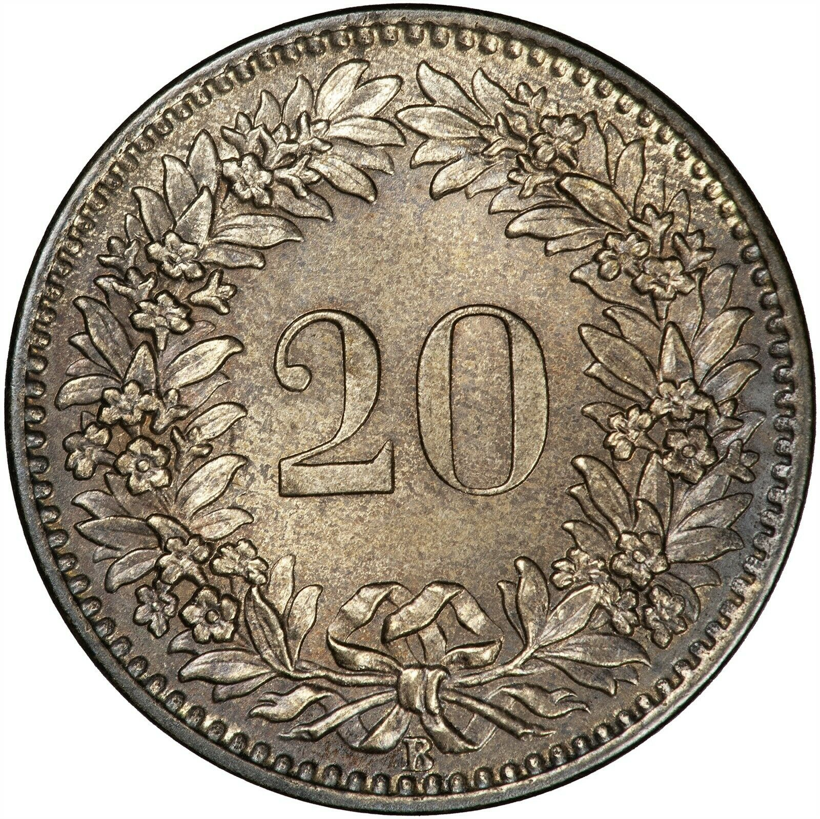 Twenty Centimes (Rappen) 1859: Photo Coin, Switzerland, 20 Rappen 1859
