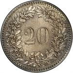 Switzerland / Twenty Centimes (Rappen) 1859 - reverse photo