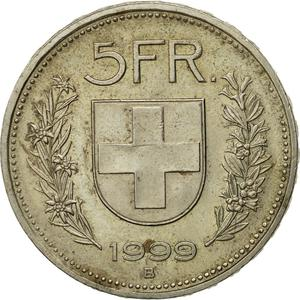 Switzerland / Five Francs 1999 - reverse photo