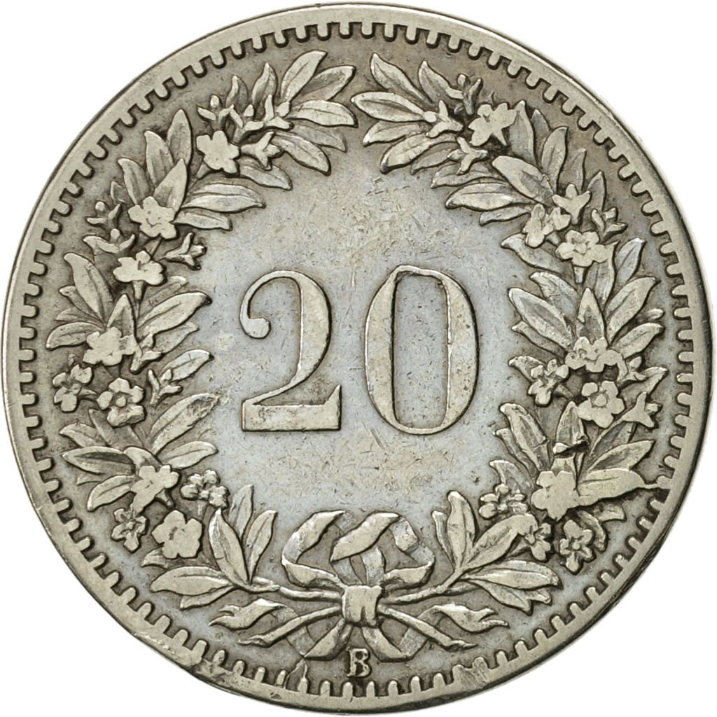 Twenty Centimes (Rappen) 1885: Photo Coin, Switzerland, 20 Rappen 1885