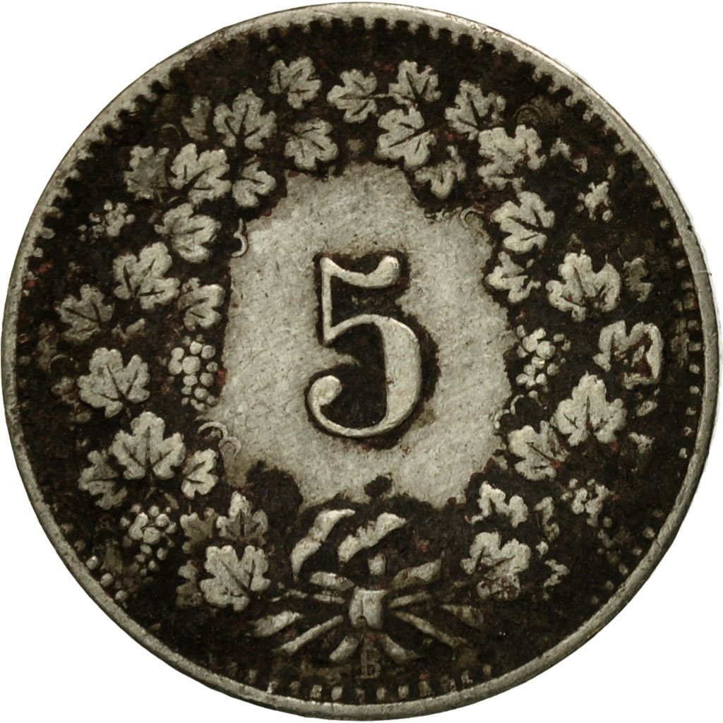 Five Centimes (Rappen) 1890: Photo Coin, Switzerland, 5 Rappen 1890
