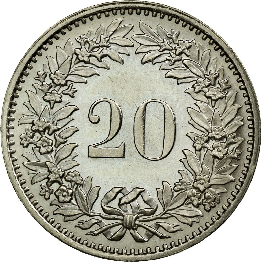 Twenty Centimes (Rappen) 1974: Photo Coin, Switzerland, 20 Rappen 1974