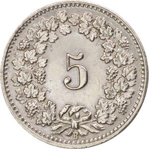Switzerland / Five Centimes (Rappen) 1898 - reverse photo