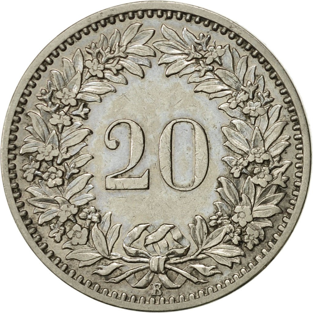 Twenty Centimes (Rappen) 1884: Photo Coin, Switzerland, 20 Rappen 1884
