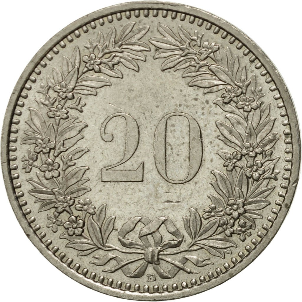 Twenty Centimes (Rappen) 1987: Photo Coin, Switzerland, 20 Rappen 1987