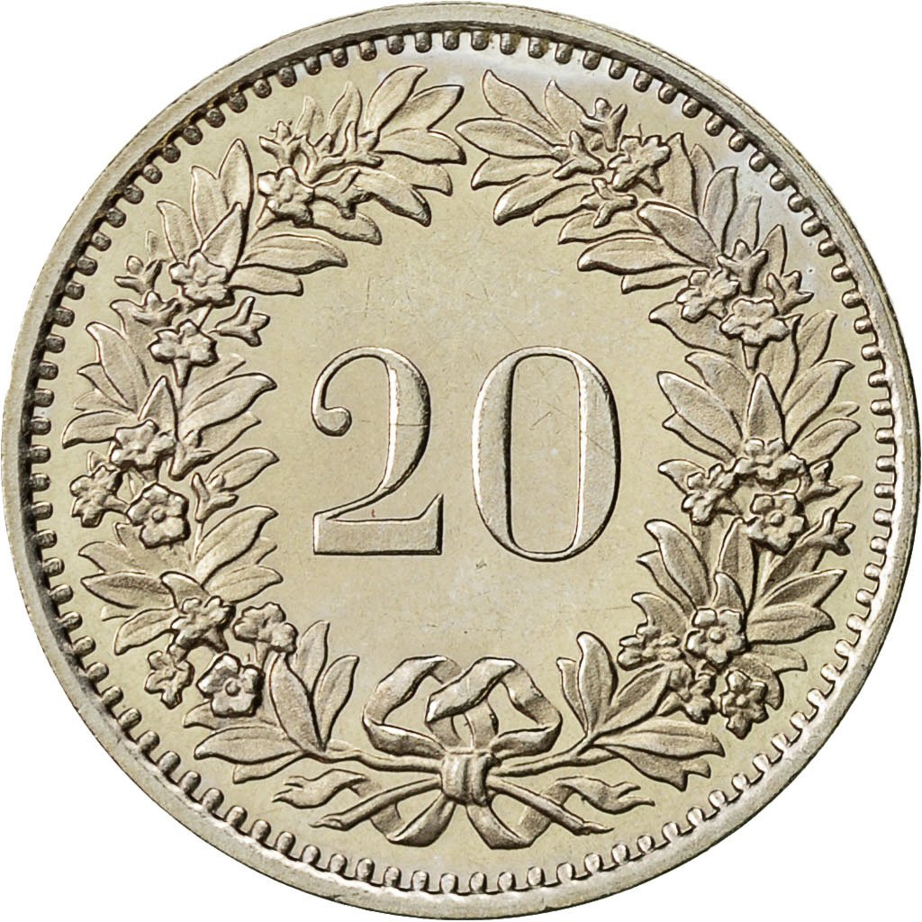 Twenty Centimes (Rappen) 1981: Photo Coin, Switzerland, 20 Rappen 1981