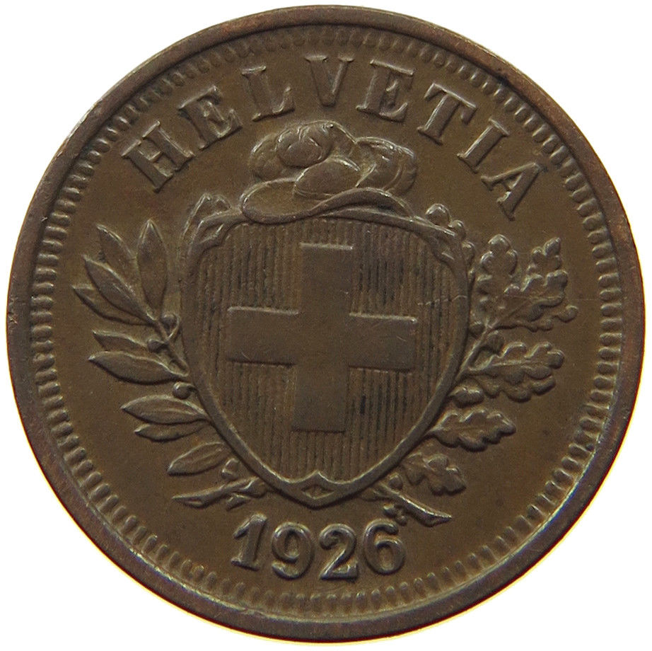 One Centime (Rappen) 1926: Photo Switzerland 1 Rappen 1926