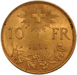 Switzerland / Ten Francs, Gold (Vreneli) - reverse photo