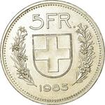 Switzerland / Five Francs 1985 - reverse photo