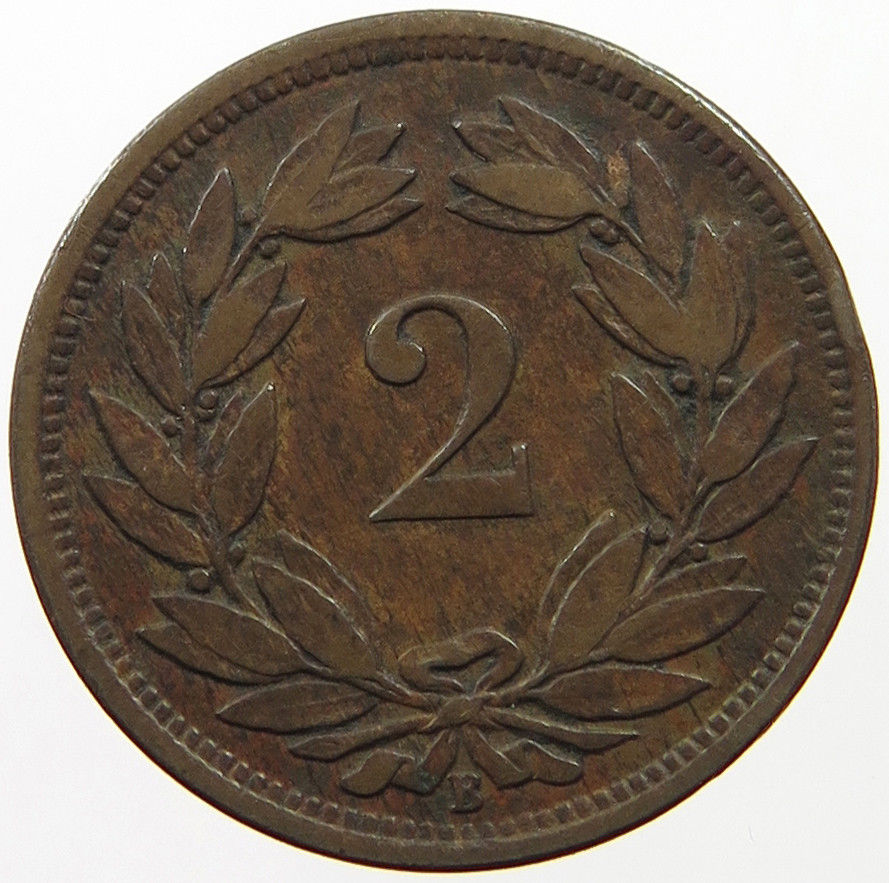 Two Centimes (Rappen) 1870: Photo Switzerland 2 Rappen 1870